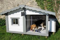 The adorable pet will surely love the innovative reclaimed wood pallet dog house because the idea is unique and the dog will get a special place in the home where he/she can live. The idea will not take much time in completion.