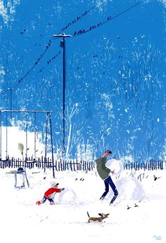 Bright, sharp, cold. #pascalcampion #snowday _Boy, you sure do like to build snowman Pop, don't you? _Hmmm.. nah.. not really? _You don't? _ I just like building them with you.