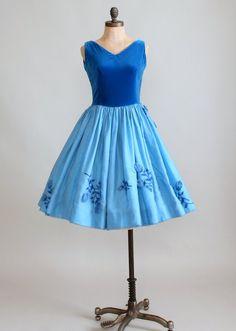 Vintage 1950s Azure Rose Party Dress