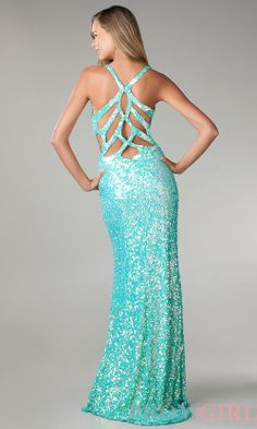 Prom Dresses, Celebrity Dresses, Sexy Evening Gowns at PromGirl: Floor Length V-Neck Sequin Dress