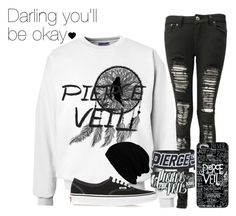 """""""Pierce the Veil"""" by xx-beautifully-insane-xx ❤ liked on Polyvore featuring Boohoo, Vans, women's clothing, women, female, woman, misses and juniors"""