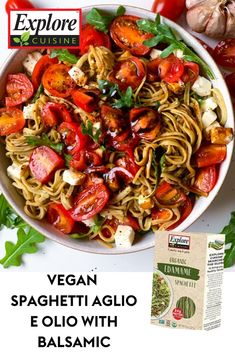 Enjoy a quick, simple, healthy pasta dinner with Vegan Spaghetti Aglio e Olio with Balsamic. Made with protein-packed Edamame Spaghetti noodles for a perfectly nutritious plant-based dish! Top with cherry tomatoes, mozzarella and balsamic, and dig in! #veganpastarecipes #balsamic #veganspaghetti 21 Day Fix Vegetarian, Vegetarian Recipes Dinner, Veggie Recipes, Lunch Recipes, Asian Recipes, Gourmet Recipes, Cooking Recipes, Healthy Recipes, Edamame Spaghetti