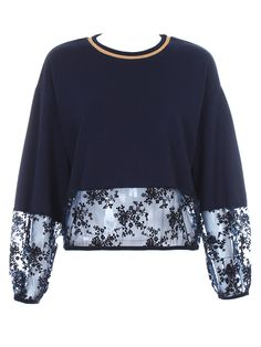 Navy Short Sweatshirt With Embroidery Lace Hem