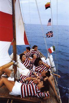 La Dolce Vita, on the sea Slim Aarons, Les Hamptons, Aria, Nautical Fashion, Nautical Style, Preppy Style, Nautical Clothing, Preppy Fashion, Nautical Stripes