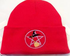 Wiccan Red Beanie Pentacle Broom Witch Hat  Embroidery Wiccan Clothing Pagan Witch Urban Threads
