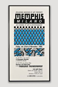 Artist/Designer: Unknown Title: Memphis/Milano Medium: Print on paper Dimensions: x x Framed Manufacturer: Oklahoma Museum of Art, 1984 Details: Designed as both a poster and the in Museum Poster, Art Museum, Bee Rocks, Memphis Milano, Memphis Design, Typographic Design, Blues Rock, Paper Dimensions, Grafik Design
