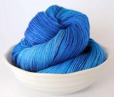 Hand Dyed Sock Yarn - 80/20 Merino Nylon Sock Yarn - Killer Blue by ClementineAndThread on Etsy
