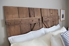 Super-duper step by step tutorial on how to clean and treat barn wood for headboard projects. [ barn door headboard by thatgirlsab, via Flickr