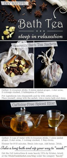 Sweet, spicy and totally relaxing: BATH TEA. Another multi-tasking DIY recipe from our beauty expert, Kristen Arnett!