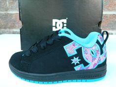 DC Court Graffik 2.0 Skate Shoe Girls Black Turquoise Pink Butterfly Sz. 2 NEW