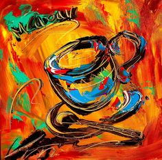 cool coffee oil painting art | Coffee Painting by Mark Kazav - Coffee Fine Art Prints and Posters for ...