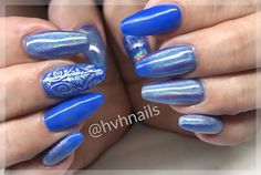Gel Polish Blue with Nail foli and Pigment