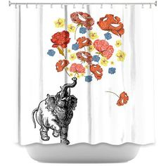 Elephant by Marci Cheary Fabric Shower Curtain