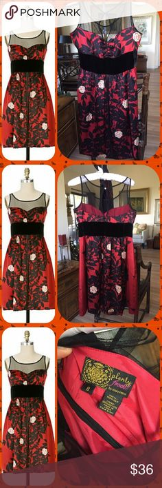 🌹Tracy Reese Rose Garden Frock 🌹 Look like a sweet ❤ in the 🌹🌹🌹garden! Be a Valentine to yourself and for those you love! Picture perfect condition as you can see! Illusion neck line, black velvet waist, silk and fully lined dress make it a wrap. L = 35 inches, W = 15 across, Chest = 17 across! Anthropologie Dresses