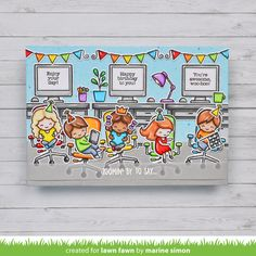 Lawn Fawn Video {6.10.21} Marine's Fun Office Party Birthday Card - Lawn Fawn Lawn Fawn Blog, Spectrum Noir Markers, Office Birthday, Lawn Fawn Stamps, Retirement Cards, Cool Office, Office Parties, Card Tags, Cute Cards