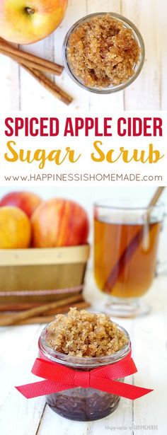 This Spiced Apple Cider Sugar Scrub only takes a few minutes to make, and it… – Gesundes Abendessen, Vegetarische Rezepte, Vegane Desserts, Sugar Scrub Homemade, Sugar Scrub Recipe, Homemade Skin Care, Homemade Beauty Products, Homemade Moisturizer, Homemade Soaps, Diy Body Scrub, Diy Scrub, Bath Scrub