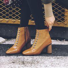 Shoespie Rivet Patchwork Plain Ankle Boots