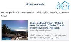 Puedes publicar tu anuncio en Español, Inglés, Alemán, Francés y Ruso!