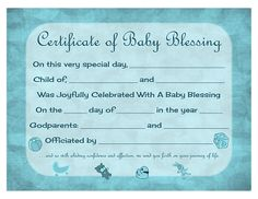 Certificate Of Baby Blessing   Free Printable Template  Baby Dedication Certificates Templates