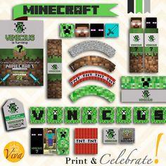 MINECRAFT Birthday Party Kit  Custom by VivaPrintCelebrate on Etsy