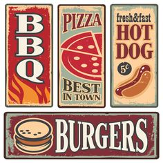 Vintage fast food tin signs Retro metal signs collection with pizza, burger, hot dog and barbecue Delicious food backgrounds and poster design templates Retro Vintage, Vintage Candy, Vintage Design, Vintage Labels, Vintage Room, Modern Retro, Vintage Food Posters, Vintage Metal Signs, Vintage Frases