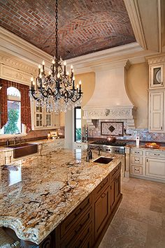 Old World Style Kitchen / Brick Ceiling