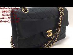 Authentic Vintage CHANEL Chain Shoulder Bag Leather Black Flap Quilted L...
