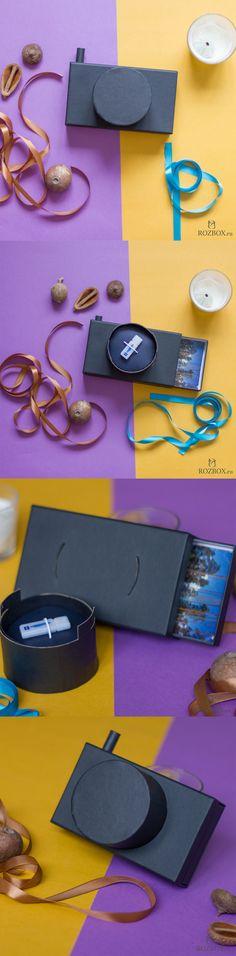 FotoBox - коробка-фотоаппарат с выдвижным лотком для хранения фотографий и съемным объективом для хранения флешки. Подробности и видео смотрите на сайте http://rozbox.ru/blog/korobka-fotoapparat