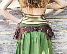 2 Pocket women's, men's  leather belt bag in brown, belt pouch, hip bag, utility belt, bum bag = picture via Etsy.