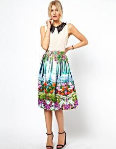 ASOS Midi Skirt In New Floral Print
