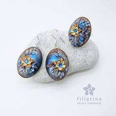 Polymer clay filigree applique technique, handmade jewelry, ring and earrings, blue and gold, vintage, wedding jewelry, flowers, floral jewelry  MIDNIGHT FLOWER  SET of ring & earrings by Filigrina,  SOLD
