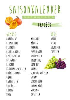 Saisonkalender Oktober | Projekt: Gesund leben | Ernährung, Bewegung & Entspannung