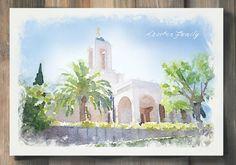 Newport Beach California Temple, Personalized Watercolor