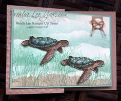 Z-Fold Sea Turtle by Wendy Lee, #creativeleeyours, Stampin' Up!, From Land to Sea stamp set, Handmade card