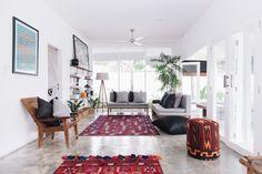 Décryptage de la Fella villas en Indonésie, à la décoration d'intérieur très boho ou gypset : matériaux brut, meubles vintage et textiles ethniques.