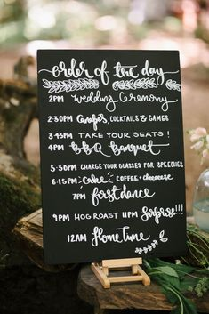 Order of the day Chalkboard Wedding Sign   Outdoor Wedding UK At Woodland Weddings With Bridesmaids In Blush Pink TH&TH Dresses With Images From Chris Barber Photography