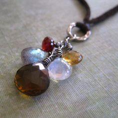 Leather Gemstone Necklace Sterling Silver Garnet by loriyab, $62.00