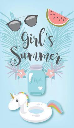 Girl's Summer Illustration. Fond d'écran à télécharger sur clementinebenoliel.com. Bouée Licorne