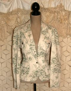 Women Fitted Jacket Green Floral Print Jacket by MagpieandOtis