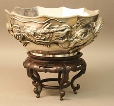 Fluted 6 In. Active Silver Rose Bowl With Net Coronet