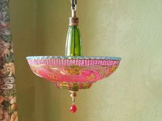 Gypsy Lighting, Hanging Art Deco Style, Colored Glass