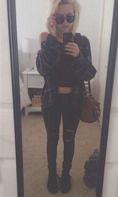 Hipster grunge.crop top flannel black jeans