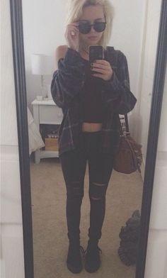 Hipster grunge.crop top flannel black jeans