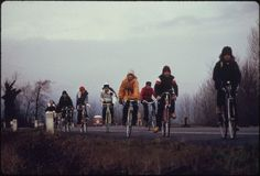 In February 1974, school children in Multnomah County, Oregon (near Portland) were forced to use their bicycles on field trips during the winter fuel crisis. There was not enough gasoline for school buses to be used for extracurricular activities,not even during dark and rainy weather.