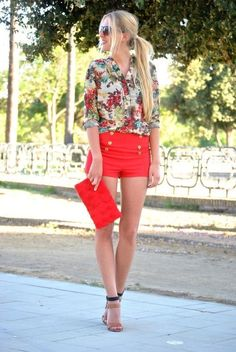 warm coral color shorts with flowy tucked in shirt. Perfect for a summer or spring day