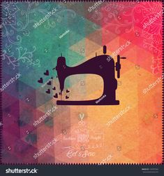 Old Sewing Machine On Hipster Background Made Of Triangles With Grunge Paper Retro Background With