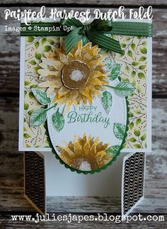 Julie Kettlewell - Stampin Up UK Independent Demonstrator - Order products 24/7: Painted Harvest Dutch Fold Card
