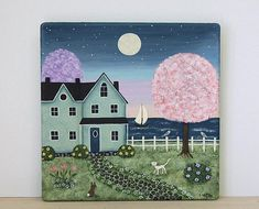 Spring Folk Art Hand Painted Square Wooden Plate, Seaside Cottage, Lake Saltbox House, Bunny, White Cat, Tulips, Flowers