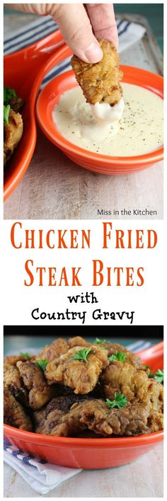 Chicken Fried Steak Bites with Country Gravy - for the best comfort food meal! Chicken Fried Steak, Steak Recipes, Chicken Recipes, Cooking Recipes, Budget Recipes, Sirloin Recipes, Beef Sirloin, Cuban Recipes, Chicken Meals