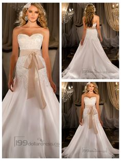 Silk Organza A-line Sweetheart Beaded Wedding Dresses